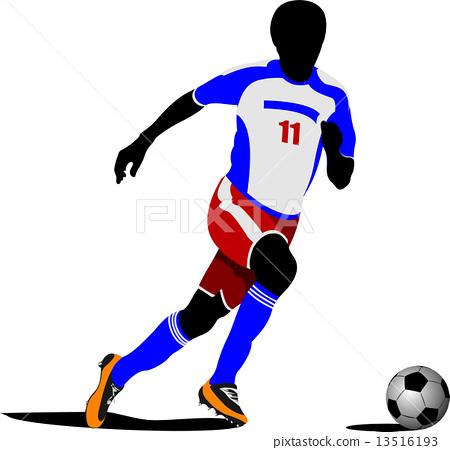 Football playeron the field. Colored Vector illustration 13516193