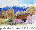 Thatched roof apricot village private houses watercolor painting 13517155