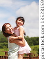 Park, greenery, family, kids, young parent, bonding, playing, enjoys, happy, hugging, outdoor, smile 13528159