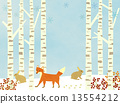 Winter forest - birch and animal - background 13554212
