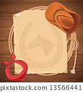 Wild west background with cowboy hat and american lasso on wood 13566441