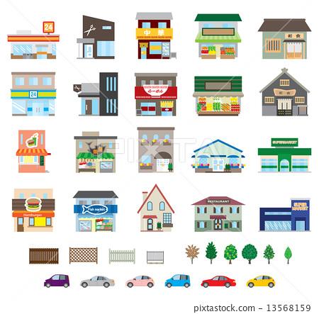矢量 建筑 商店 13568159