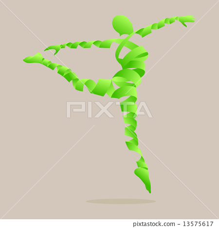 Abstract ribbon shaped with aerobics dance to slim. 13575617