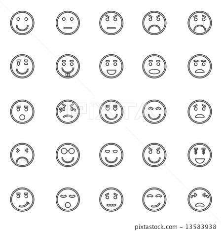 Circle face line icons on white background 13583938