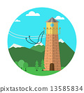 Flat colored vector icon for rope jumping 13585834