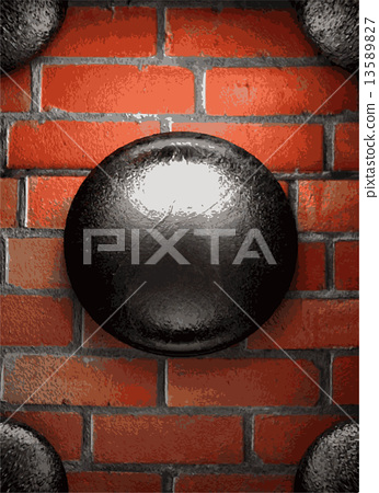 metal and brick background 13589827