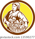 Female Organic Farmer Basket Harvest Retro 13590277