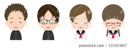 学生脸上露出悲伤的泪水 13592967