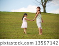 Park, greenery, family, kids, young parent, bonding, playing, enjoys, happy, hugging, outdoor, smile 13597142