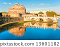View on famous Saint Angel castle and bridge over the Tiber rive 13601182