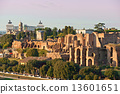 View of Circus maximus and Vittorio emanuele monument at sunset 13601651