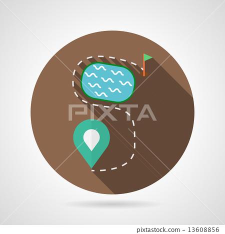 Golf course flat color vector icon 13608856