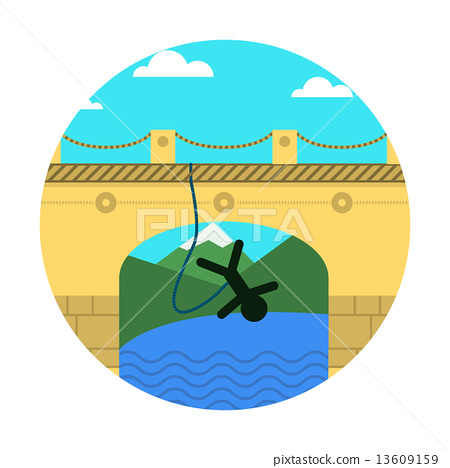 Stock Illustration: Flat vector icon for extreme sport. Rope jumping.