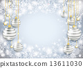 Snowflake Winter Background Silver Baubles 13611030