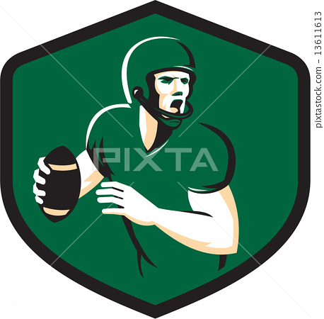 American Football Quarterback Qb Shield Retro Stock