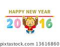 新年賀卡 矢量 猴年 13616860