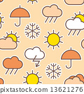 Seamless pattern of weather symbols 13621276