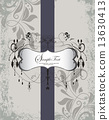 Vintage invitation card with ornate elegant retro abstract flora 13630413