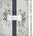 Vintage invitation card with ornate elegant retro abstract flora 13630413