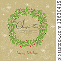 Vintage Christmas card with ornate elegant retro abstract floral 13630415