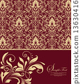 Vintage invitation card with ornate elegant abstract floral desi 13630416
