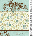 Vintage invitation card with ornate elegant retro abstract flora 13630421