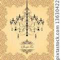 Vintage invitation card with ornate elegant grunge floral design 13630422