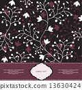 Vintage invitation card with ornate elegant retro abstract flora 13630424