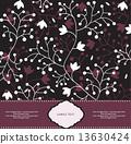 Vintage invitation card with ornate elegant retro abstract flora 13630424