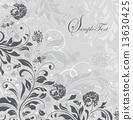 Vintage invitation card with ornate elegant retro abstract flora 13630425