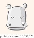 Animal hippo flat icon elements, eps10 13631071