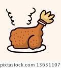 fast food freid chicken flat icon elements,eps10 13631107
