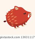 Animal wild pig flat icon elements, eps10 13631117