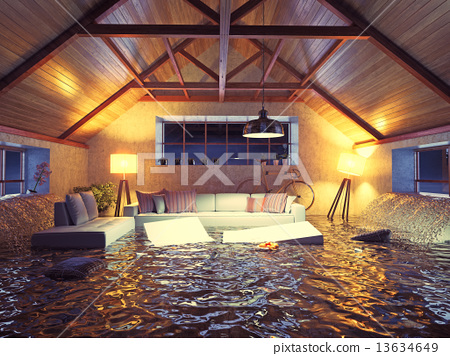 Stock Illustration: modern interior loft