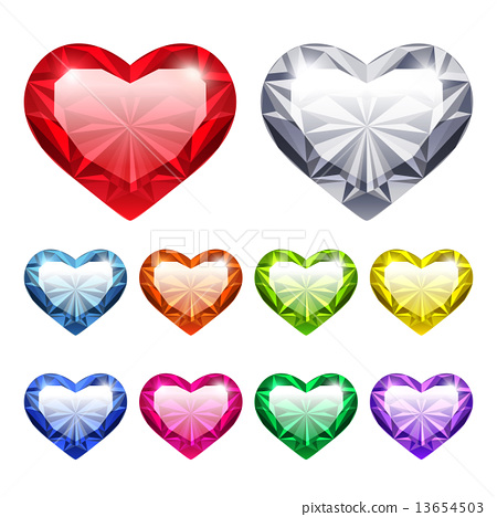 Vector Gem Hearts Set 13654503