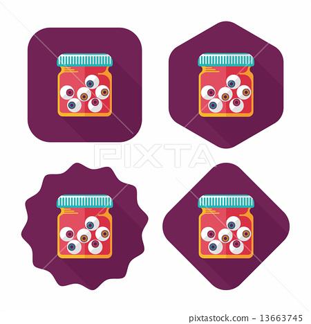 Halloween eyeballs flat icon with long shadow,eps10 13663745