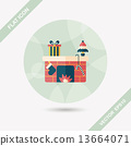 Christmas fireplace flat icon with long shadow,eps10 13664071