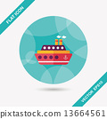 Transportation ferry flat icon with long shadow,eps10 13664561