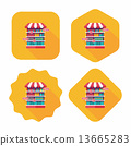 shopping grocery store flat icon with long shadow,eps10 13665283