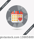 wedding day calendar flat icon with long shadow,eps10 13665600