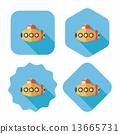 Transportation Submarine flat icon with long shadow,eps10 13665731