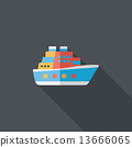 Transportation ferry flat icon with long shadow,eps10 13666065