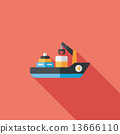 Transportation Container ship flat icon with long shadow,eps10 13666110