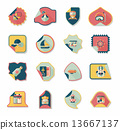 Travel sticker flat banner background set, eps10 13667137