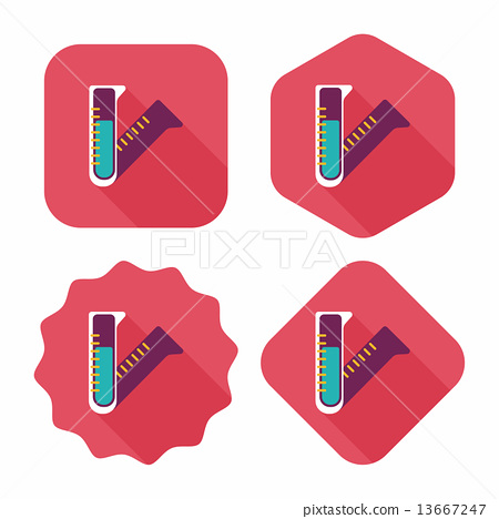 test tube flat icon with long shadow 13667247