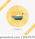 Yacht flat icon with long shadow,eps10 13667676