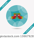 Christmas stocking flat icon with long shadow,eps10 13667928