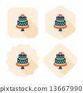 wedding cake flat icon with long shadow,eps10 13667990