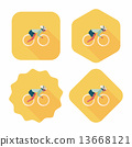 cycling flat icon with long shadow,eps10 13668121