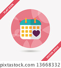 wedding day calendar flat icon with long shadow,eps10 13668332